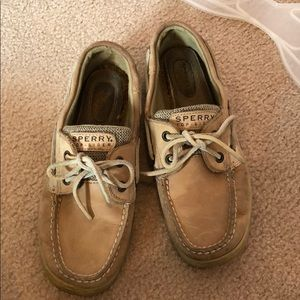 Worn sperry topsiders.